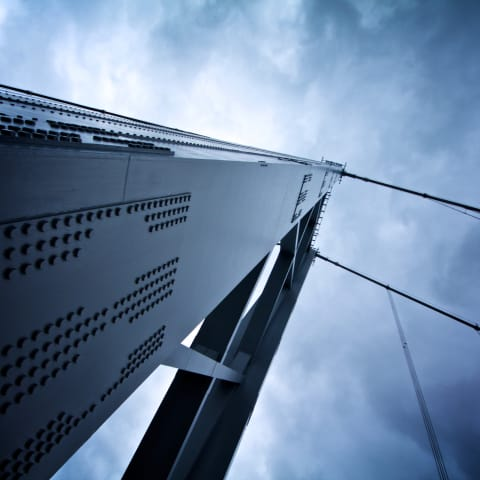 Looking up at one of the pillars of the Forth Road Bridge.