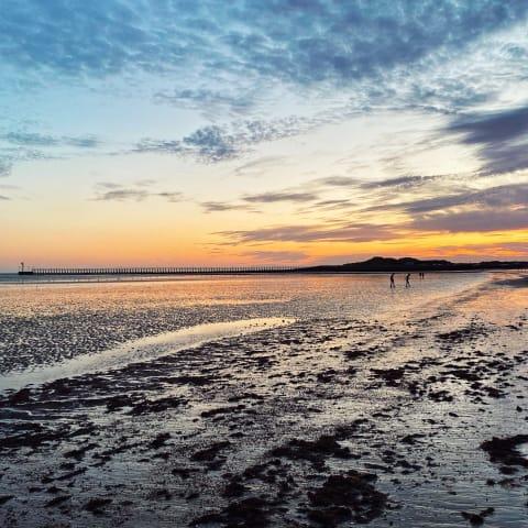 Dramatic sunset over Littlehampton beach.