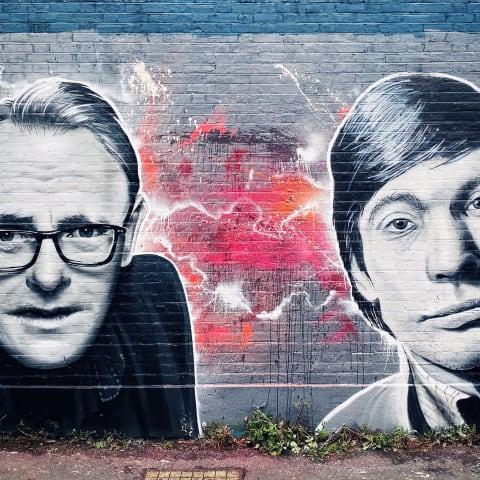 Graffiti painting of Sean Lock and Charlie Watts.