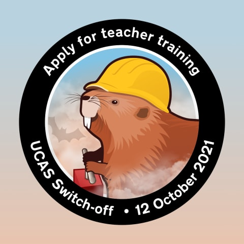 Mission patch featuring Brian the beaver wearing a yellow helmet and firing a detonator.