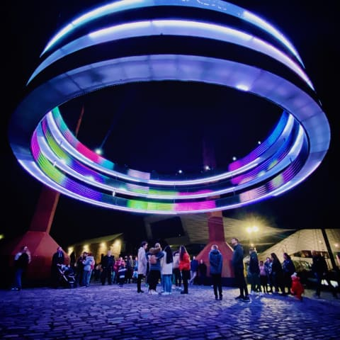'Dance Together', a huge lit up ring suspended in the air.