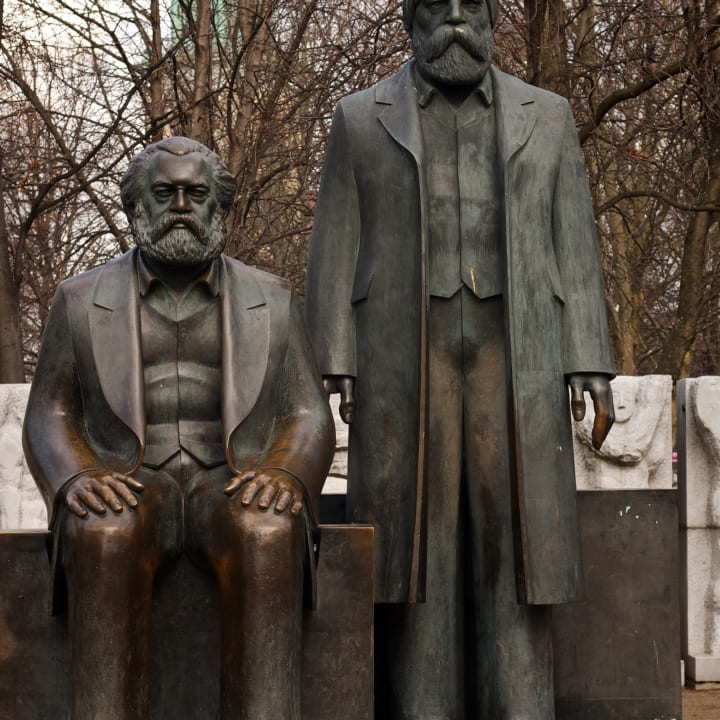 Statue of Karl Marx and Friedrich Engels.