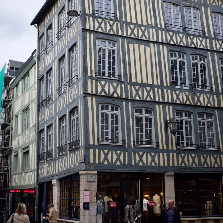 Old building with Tudor-like cladding.