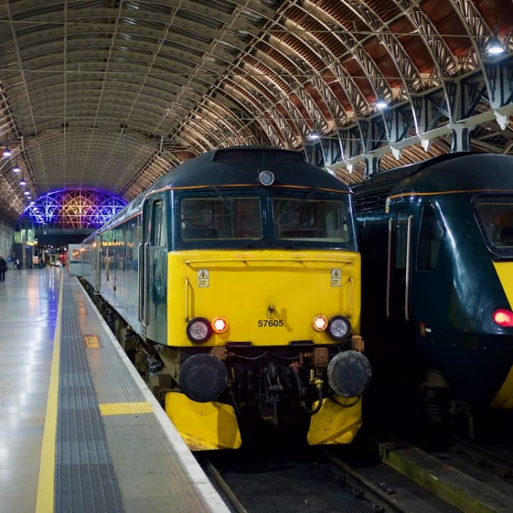 Night Riviera Sleeper stationed at Paddington station.