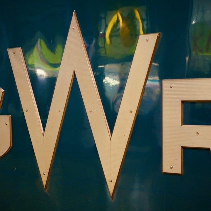 Metal GWN initials.