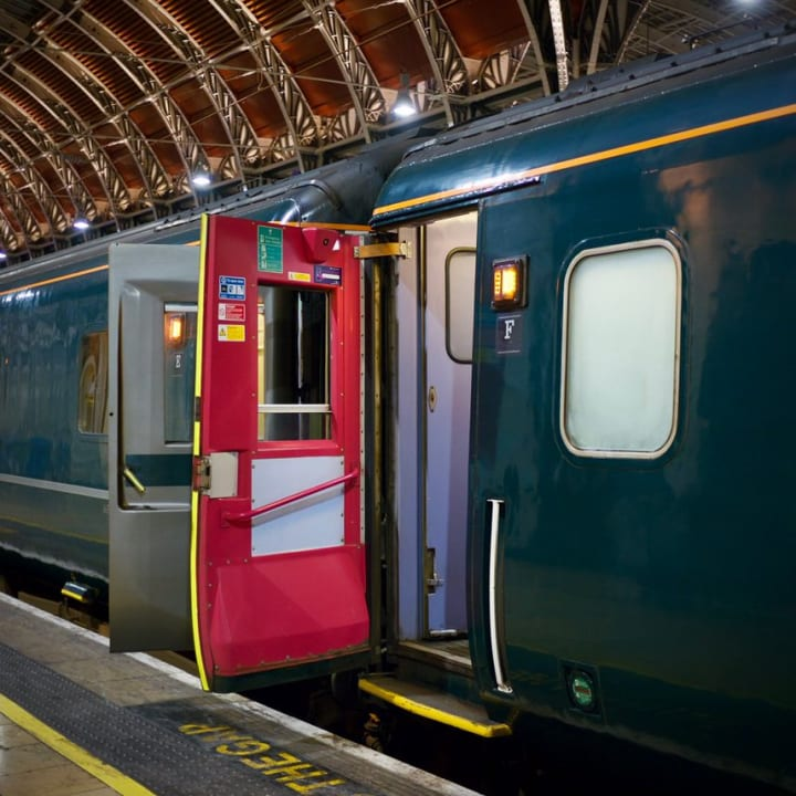 Open door to one of the carriages.