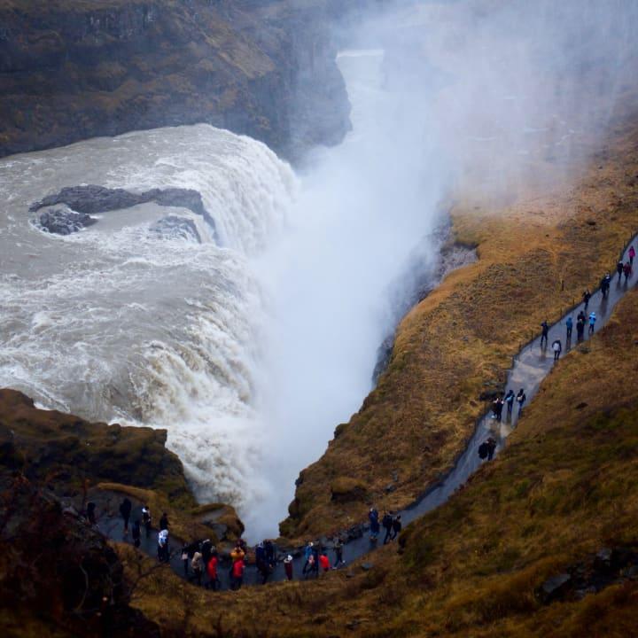 Gullfoss waterfall from above.