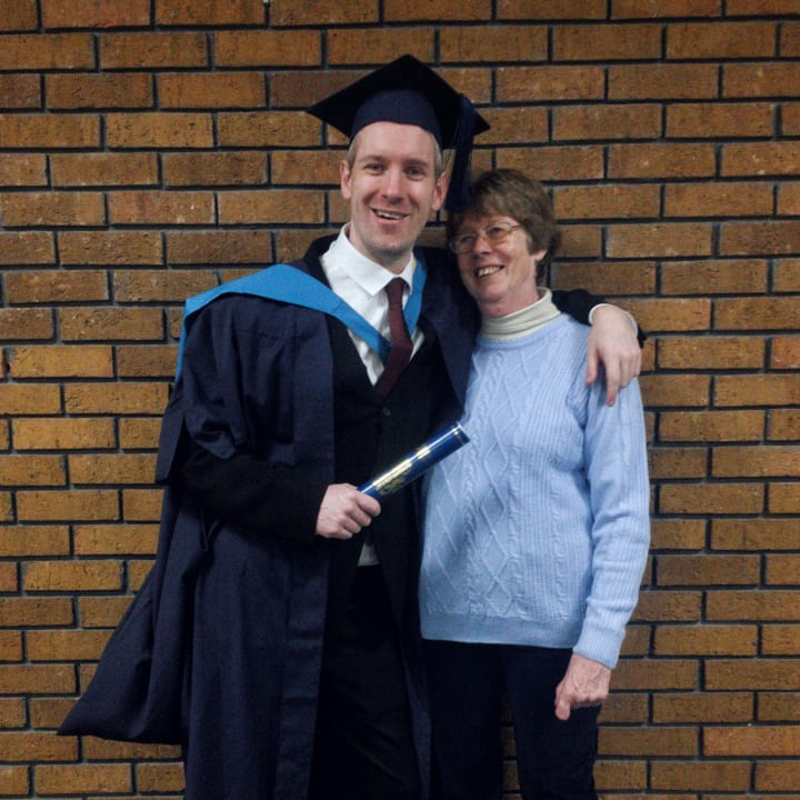 Ben and mum at his graduation in 2019.