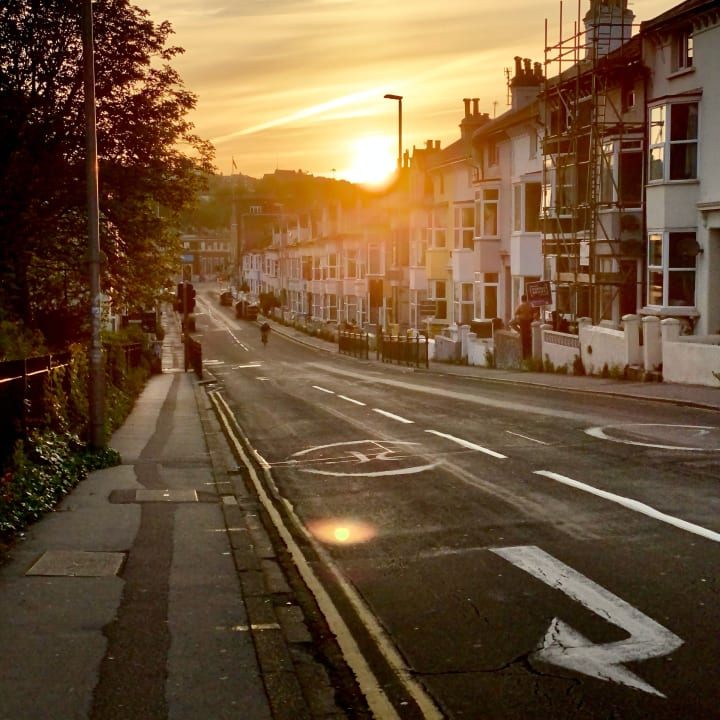 Sunset over Viaduct Road.