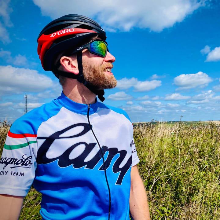 Jon in his cycling gear.