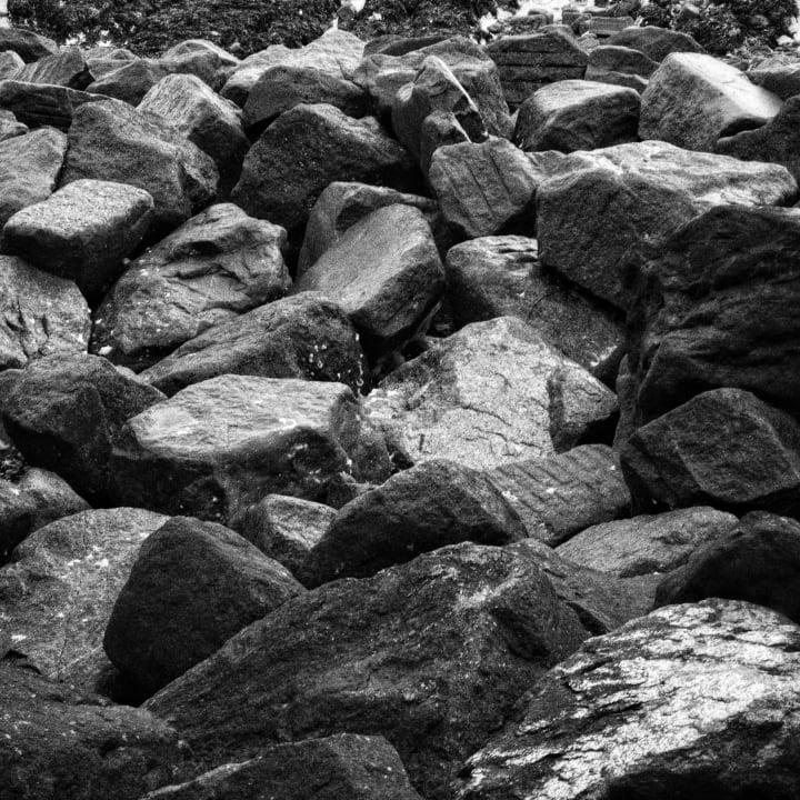 Large black rocks.