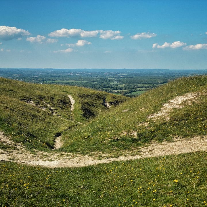 At the highest point on the walk, near Ditchling Beacon.
