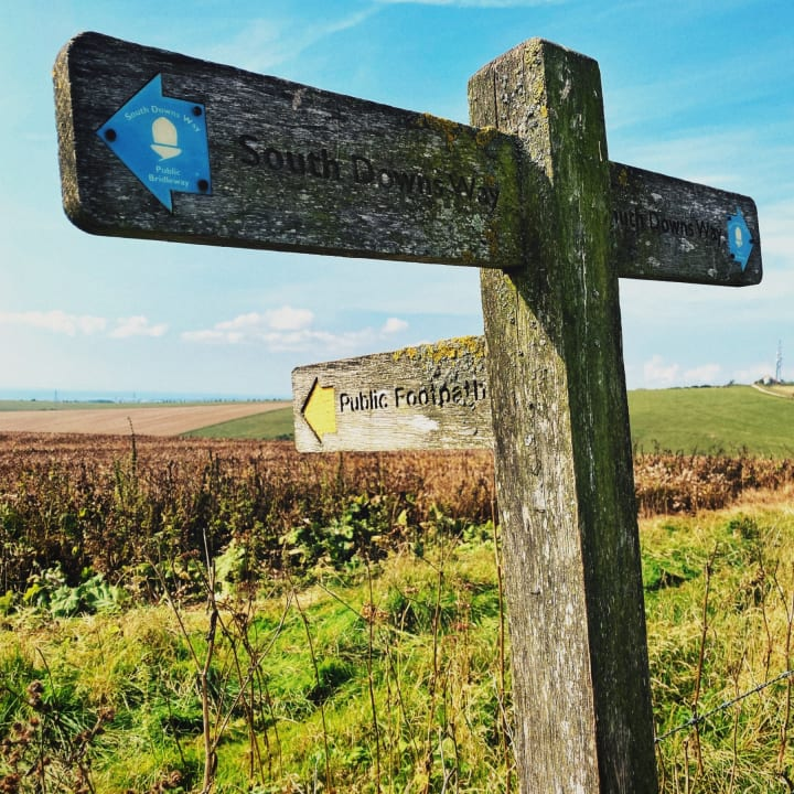Sign post on the South Downs Way.