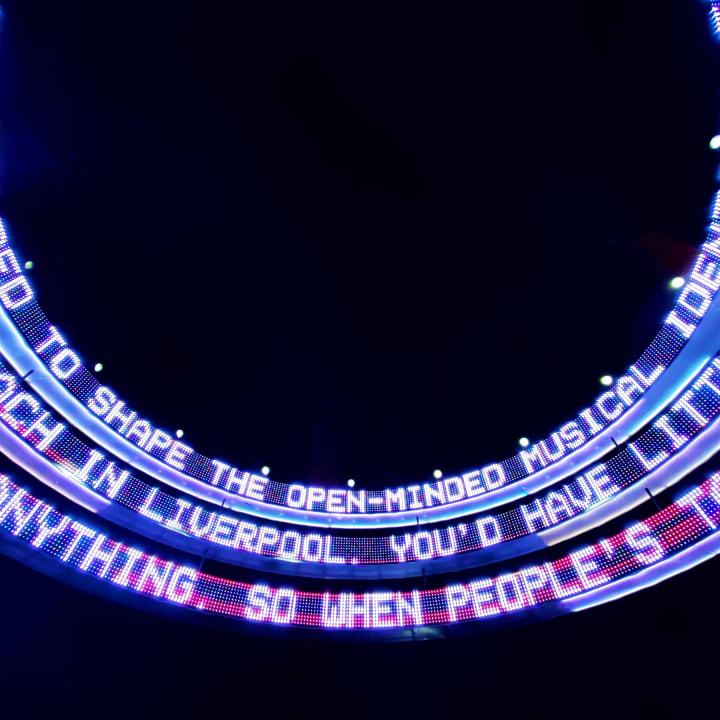 Scrolling LED messages inside 'Dance Together'.