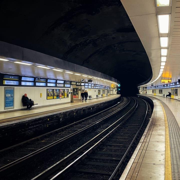Underground platforms of Hamilton Square station.