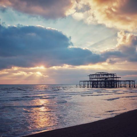 Sunset over Brighton's West Pier.