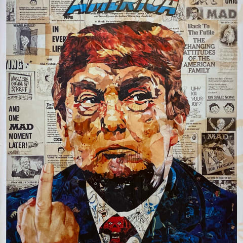 Illustration of Donald Trump showing his middle finger.
