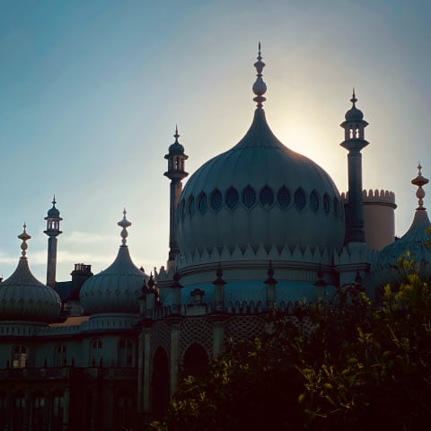 Sunset behind Brighton Pavilion.
