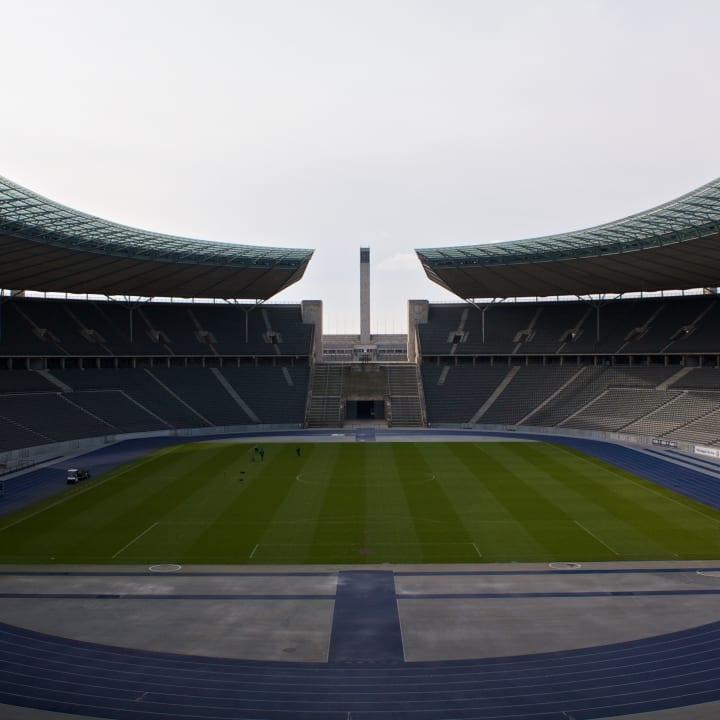 Inside the Olympiastadion.