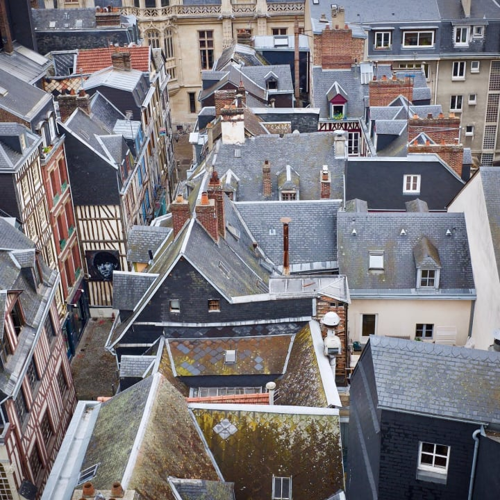 View of Rouen buildings from above.