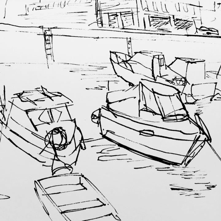 Pen sketch of fishing boats in Quai Notre Dame