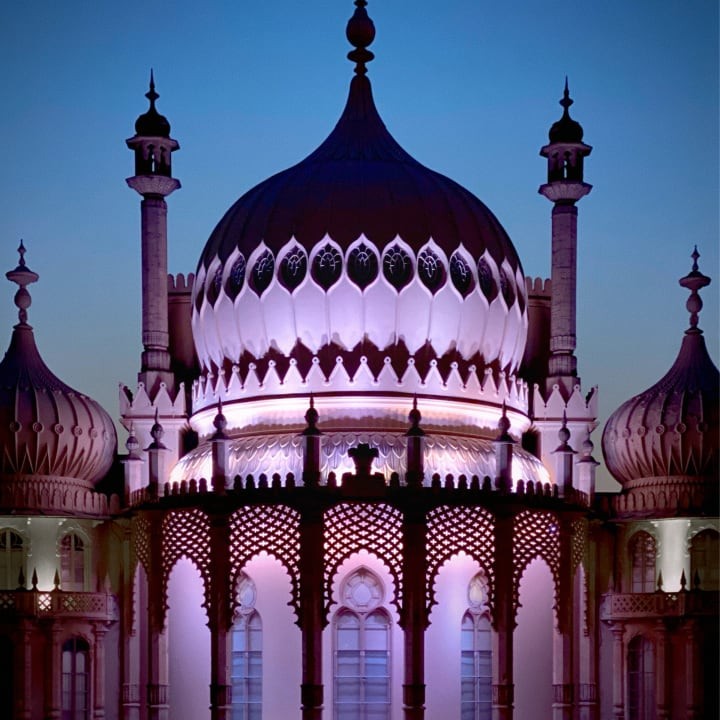 The Royal Pavilion lit up with in pink.