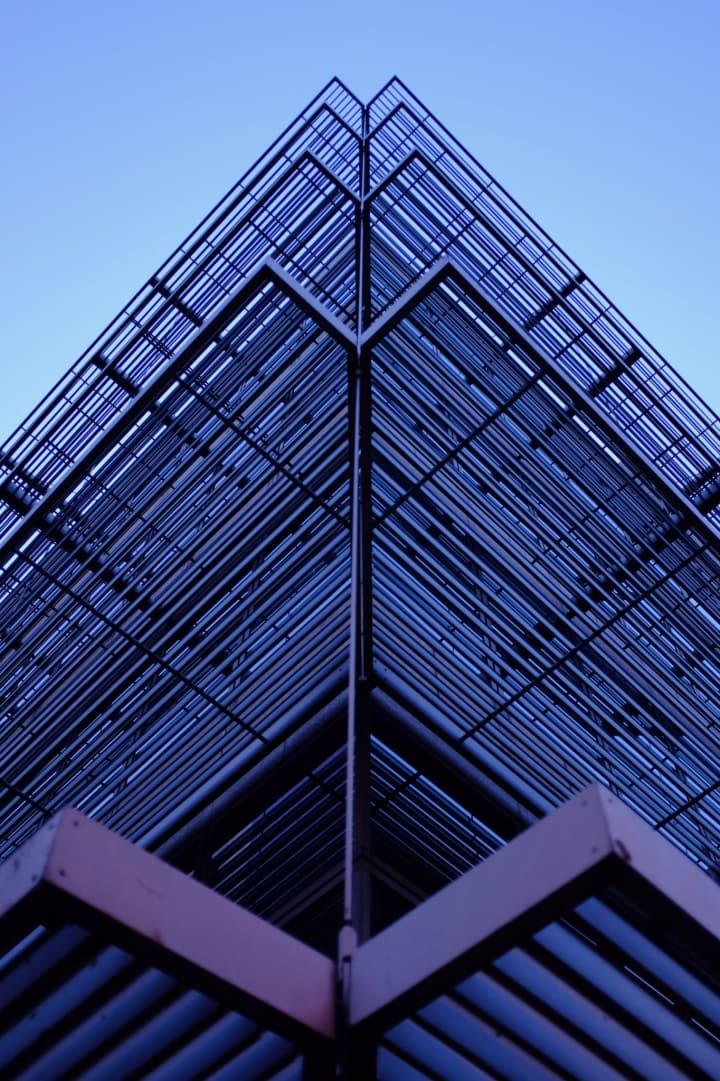 Symmetrical metal work on one corner of Dublin City Hall