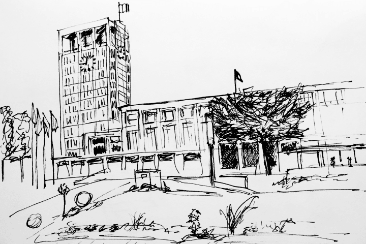 Pen sketch of Hôtel de ville du Havre