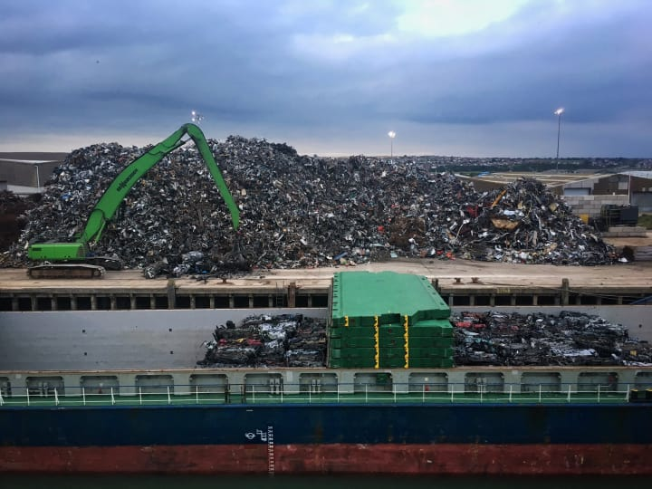 Piles of scrap metal on Newhaven dock