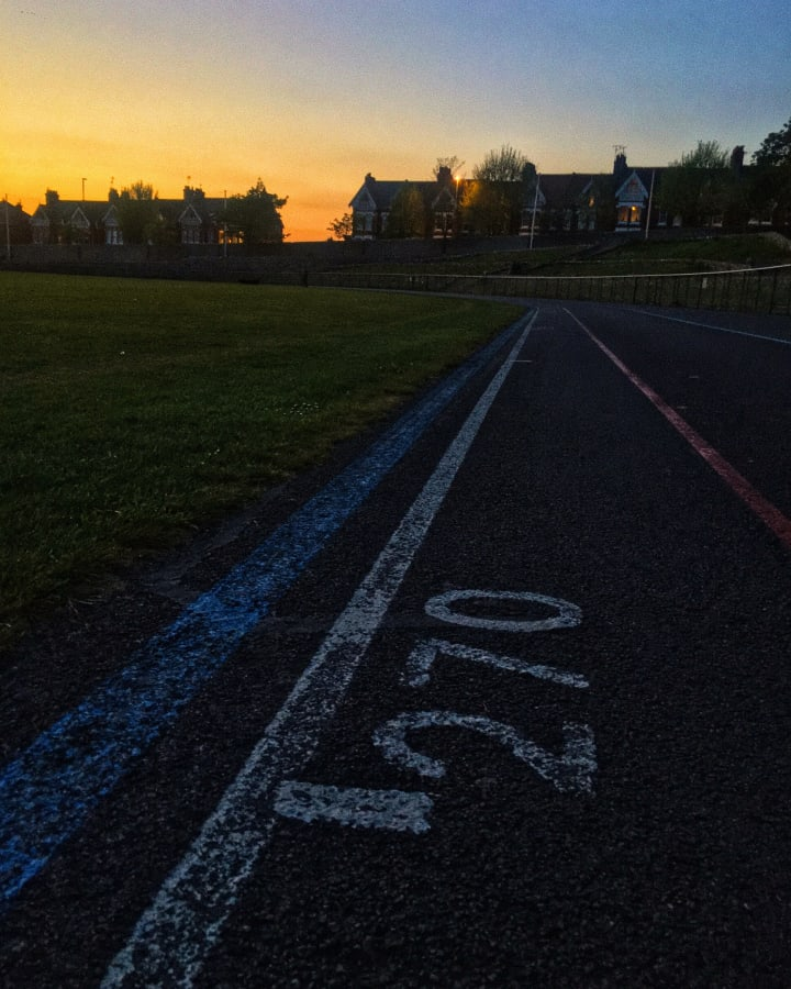 270 distance marking on an outdoor velodrome track