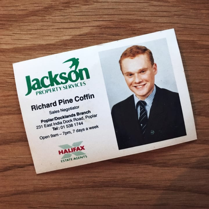 Old business card for an estate agent called Richard Pine Coffin.