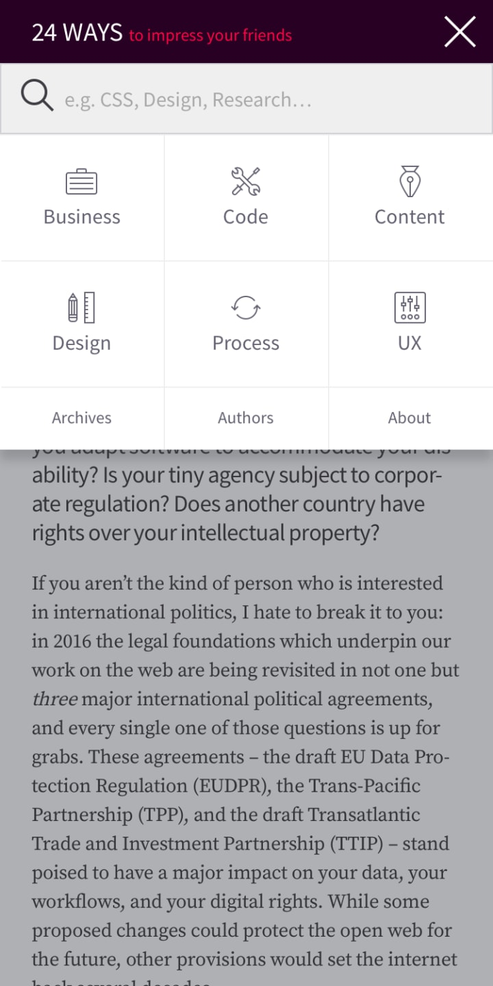 Opened site navigation on mobile
