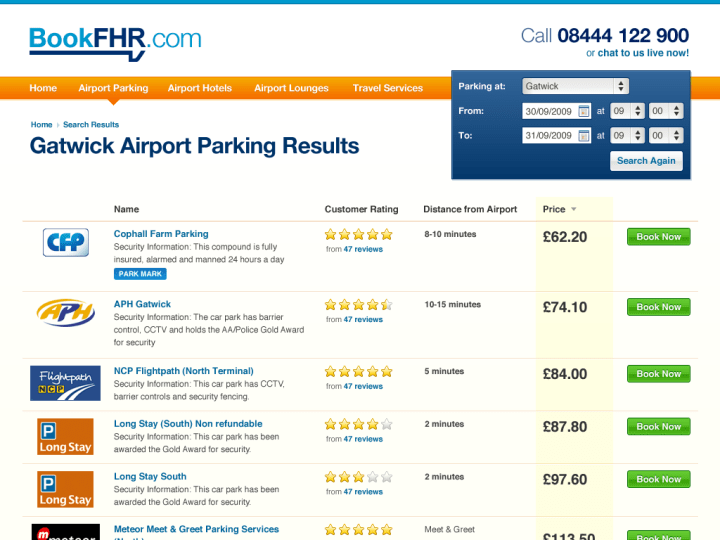 Parking search results page