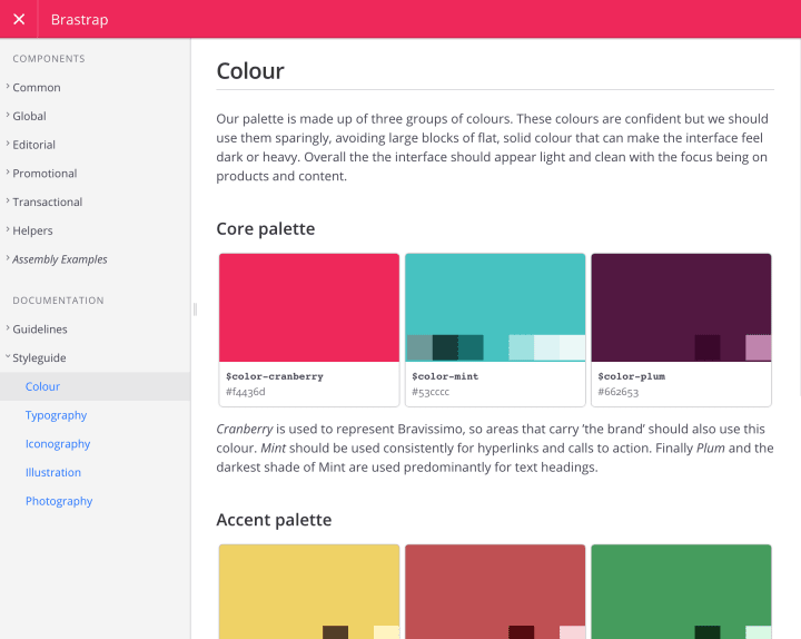 Brastrap styleguide page detailing colour palettes
