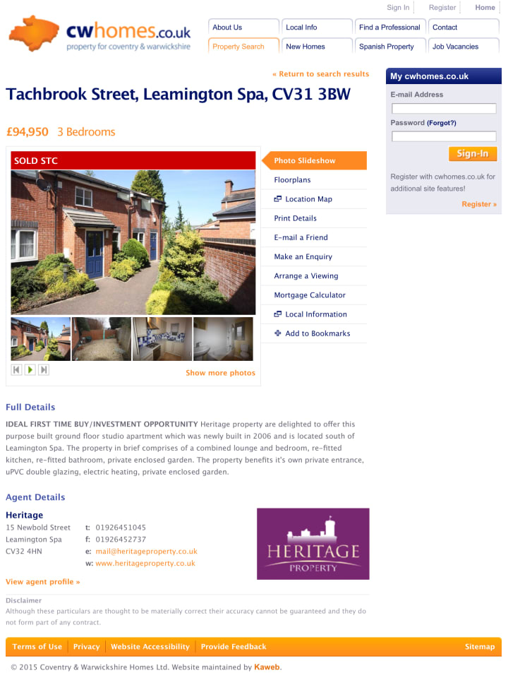 Property detail page