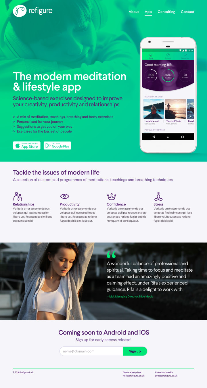 Landing page for the new app.