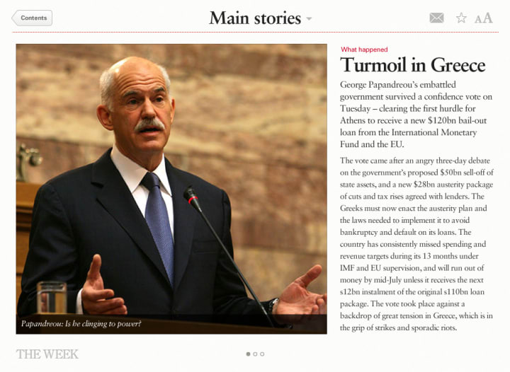 Screen showing the first page of the featured news story