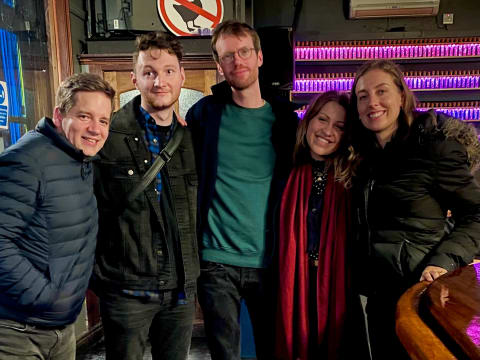 Post karaoke, pre street sing-off with Matt, Duncan, Matilde and Sarah.
