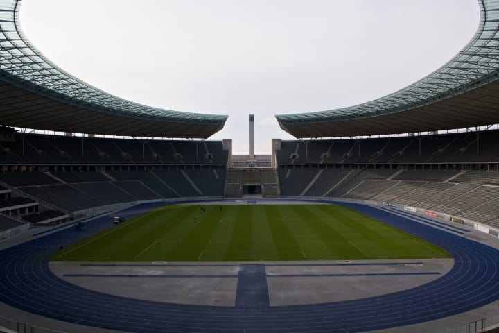 Inside the Olympiastadion.
