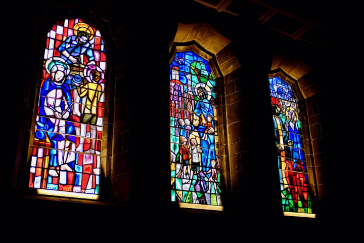 Illuminated stained glass in Galway Cathedral.