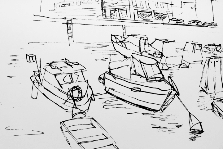 Pen sketch of fishing boats in Quai Notre Dame.