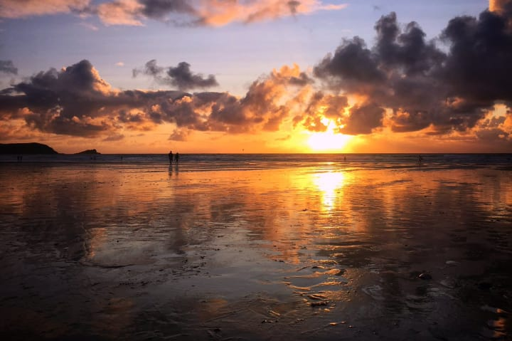 Sunset over Fistral Beach.