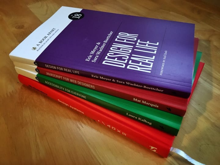 A stack of books about web design.