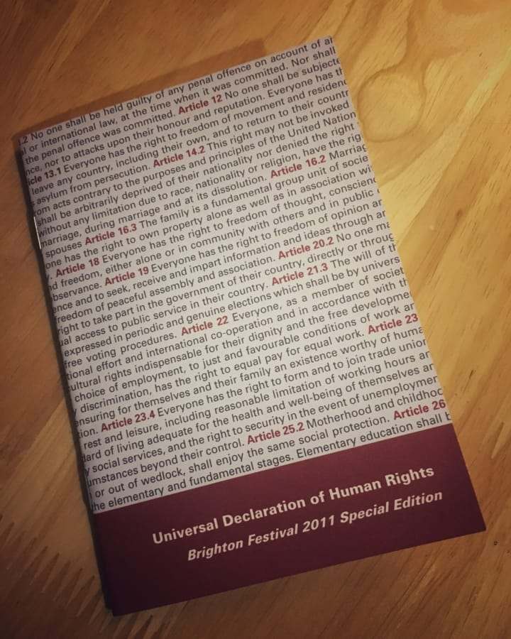 Inside cover of Universal Declaration of Human Rights.