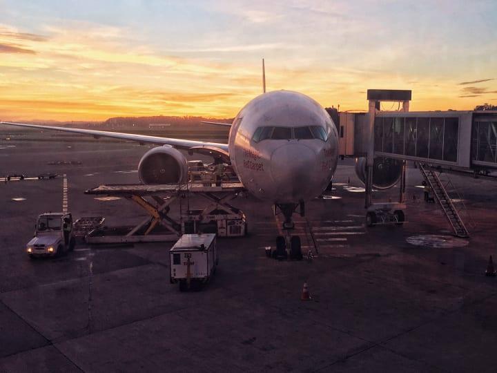 Plane at its gate at São Paulo–Guarulhos International Airport.