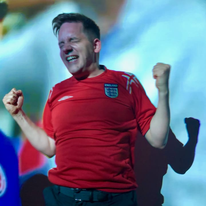 Me celebrating England's win over Colombia 2.