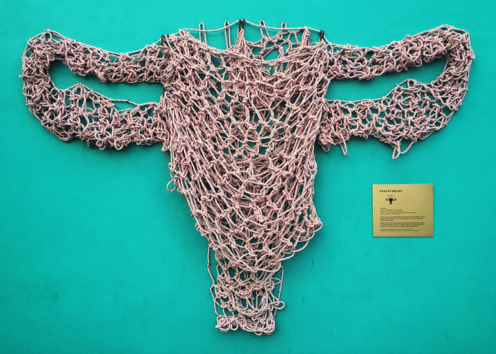 'Endurfæðing', a sculpture hung from a green wall and made of fish nets.