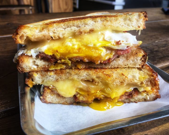 Egg and bacon sandwich.