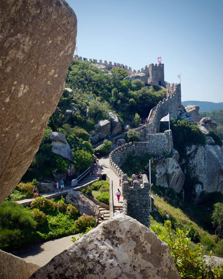 View over the walls of Castelo dos Mouros (Castle of the Moors).