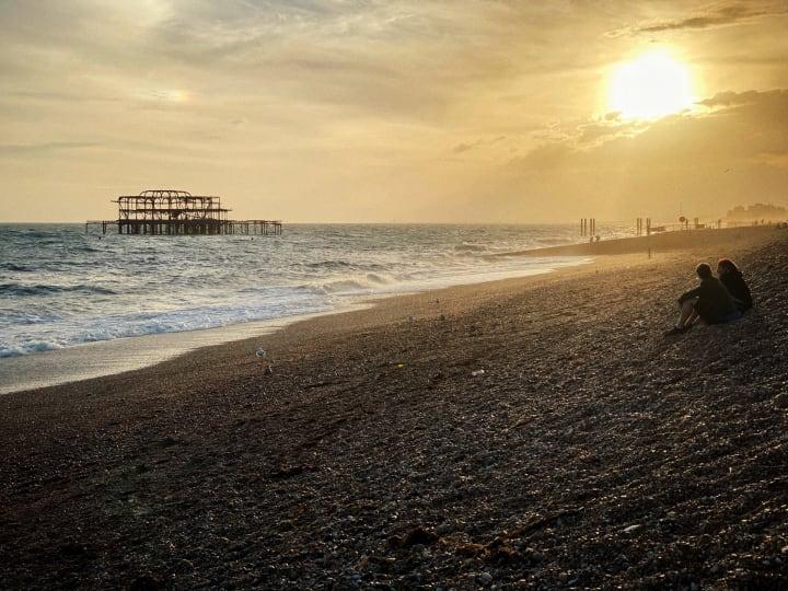 Brighton's West Pier at sunset.